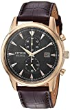 Citizen Men's 'Eco-Drive' Quartz Stainless Steel and Leather Dress Watch, Color:Brown (Model: CA7003-06E)