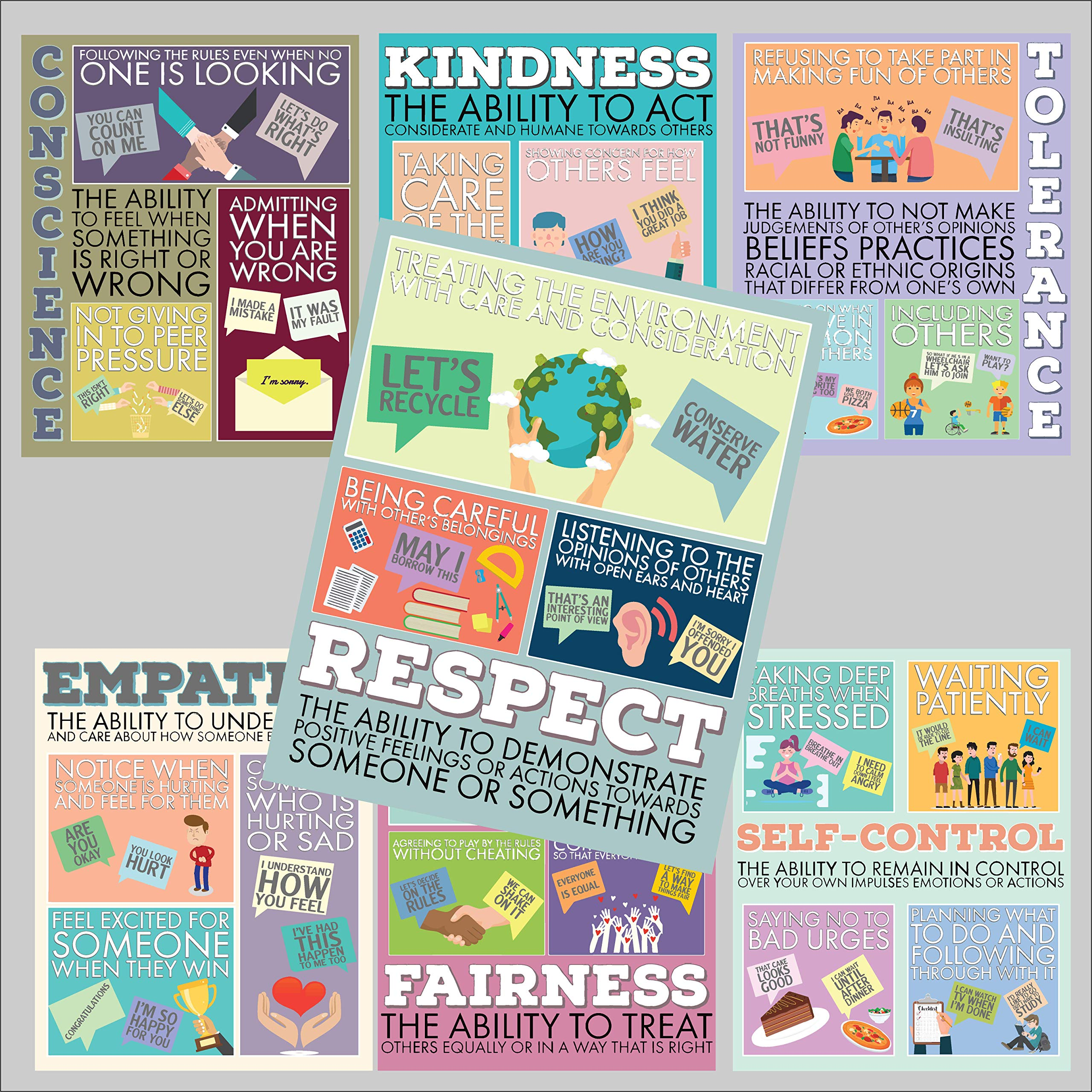 Character Building Poster Collection - Set of Seven 9 x 12 Prints - Laminated - Growth Mindset - Social Emotional - Moral Intelligence - Classroom Decor - School Counselor - Educator - Administrator