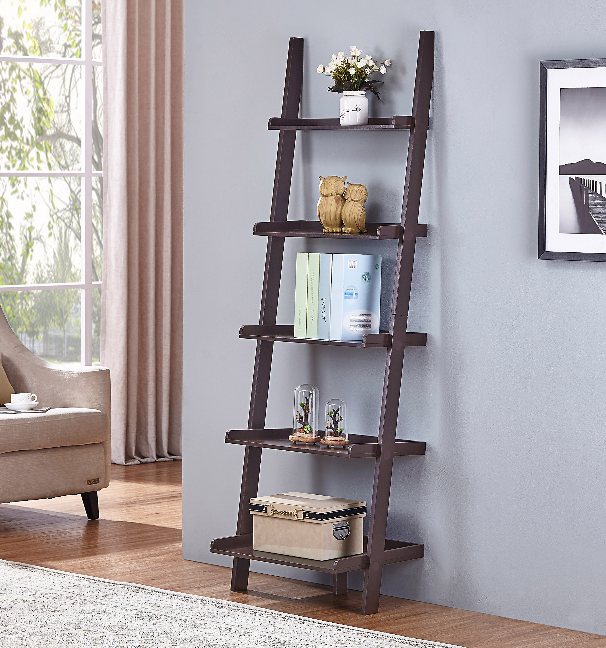 Espresso Finish 5 Tier Bookcase Shelf Ladder Leaning - 72'' Height by eHomeProducts