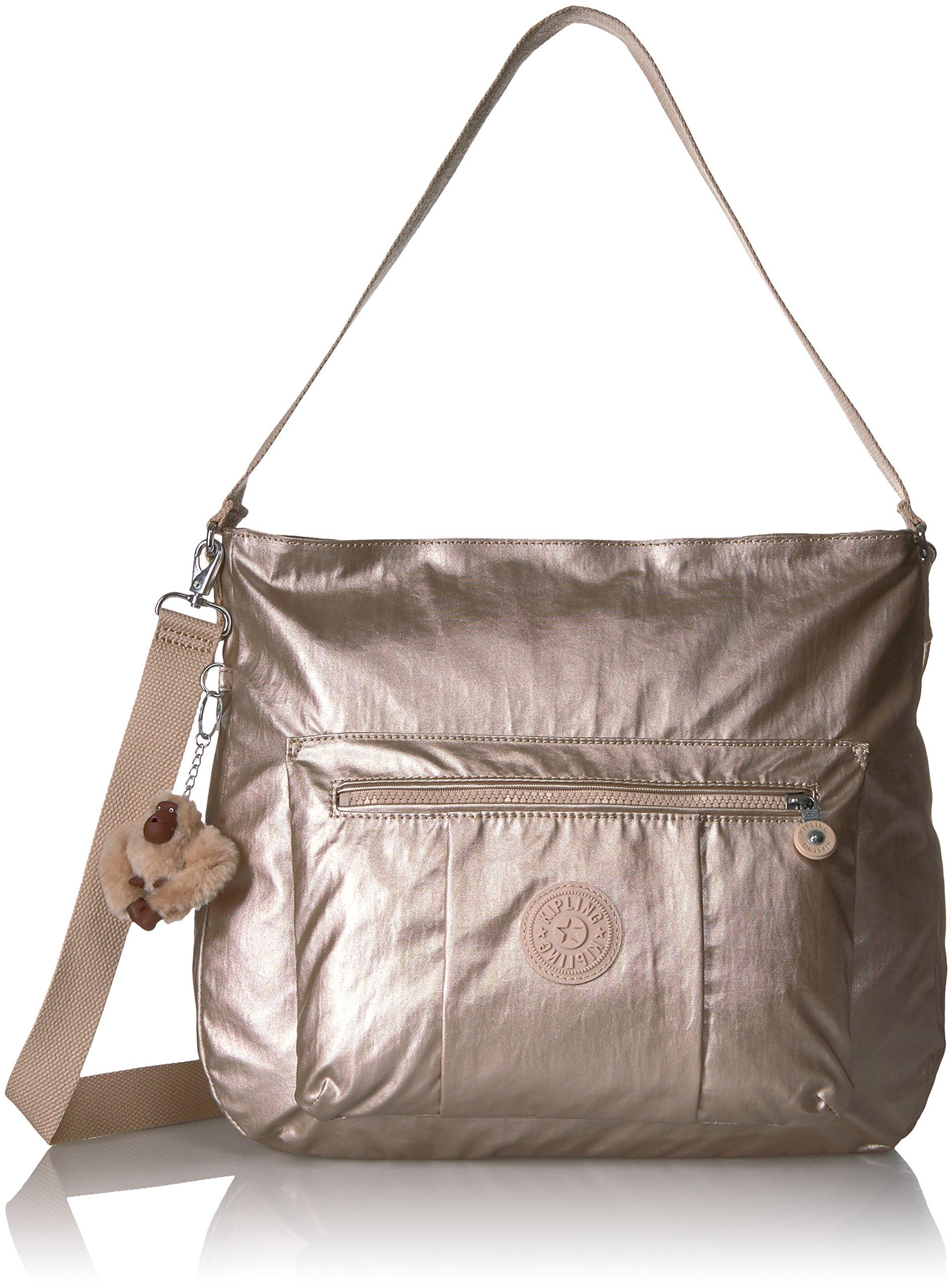 Kipling Carley Metallic Hobo Crossbody Bag, Sparklygld