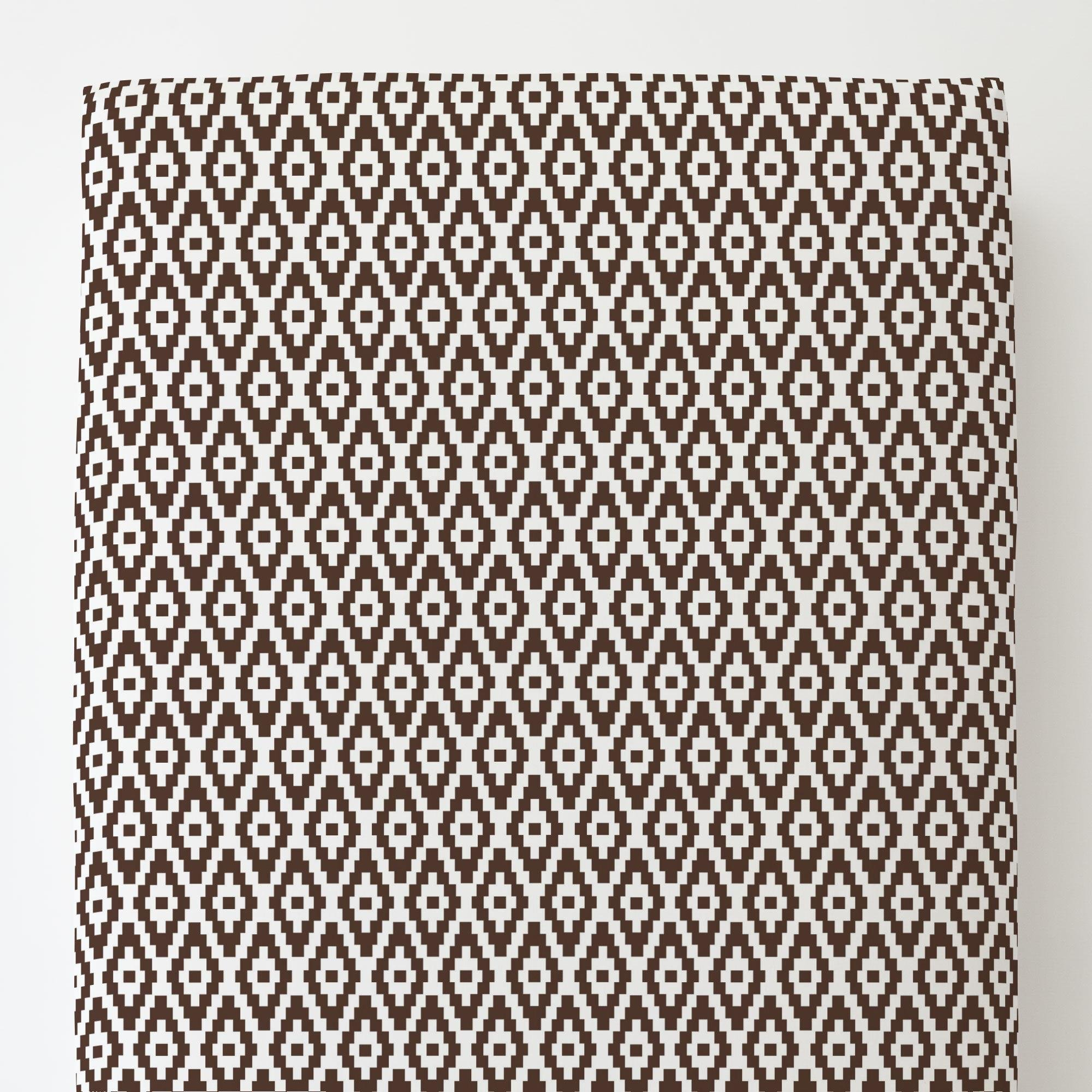Carousel Designs Mocha Aztec Diamonds Toddler Bed Sheet Fitted