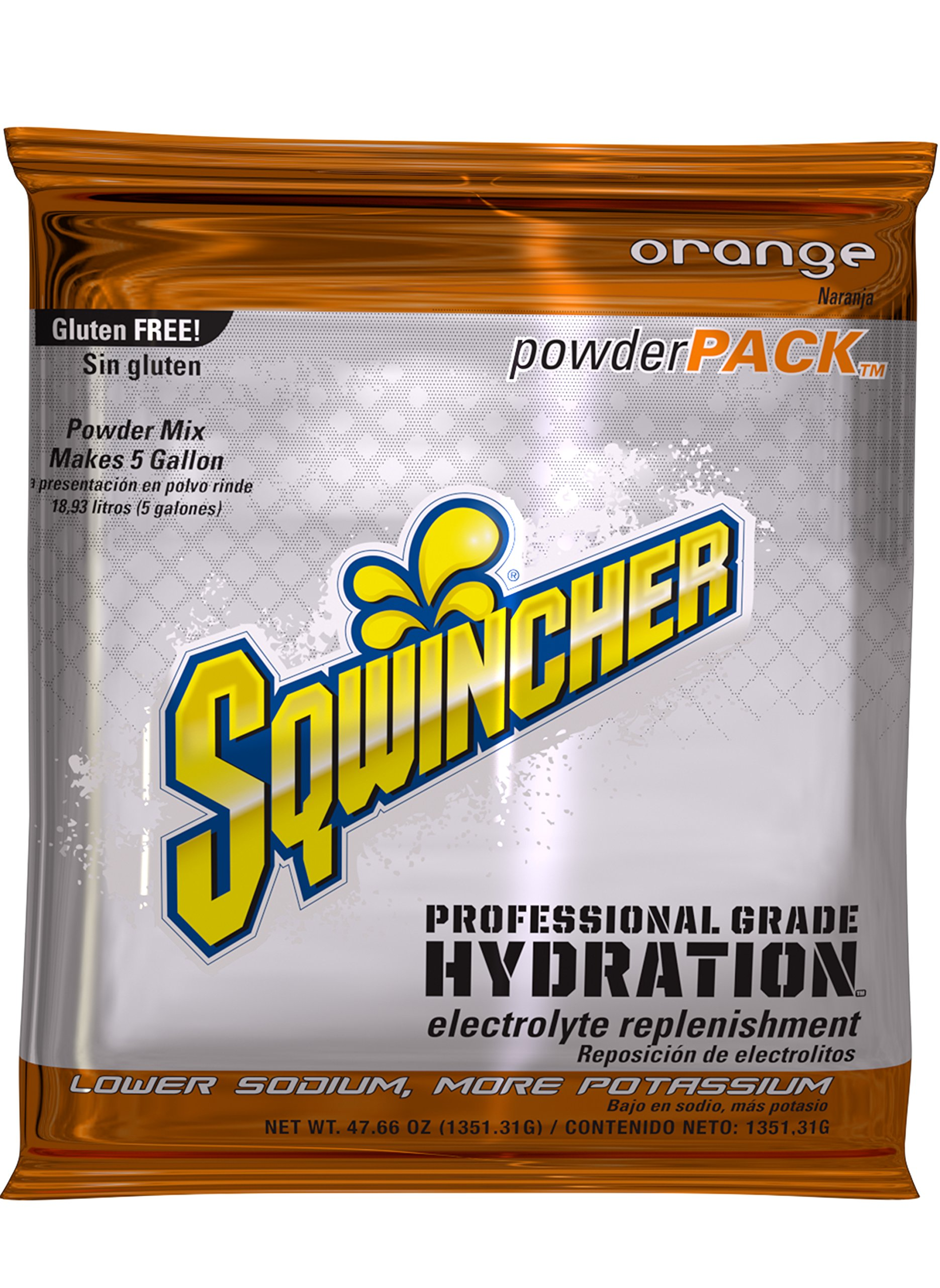 Sqwincher Powder Concentrate Electrolyte Replacement Beverage Mix, 5 gal, Orange 016404-OR (Pack of 16)