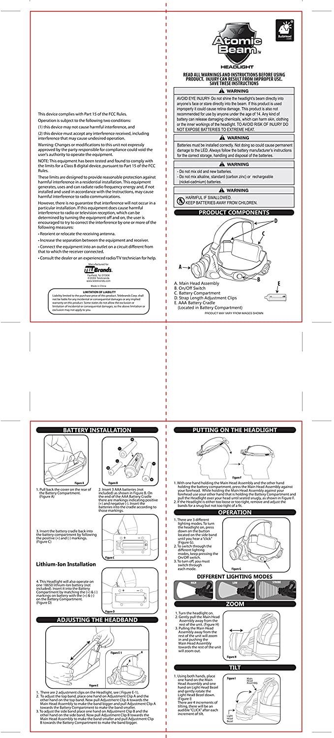 Atomic Beam Headlight By Bulbhead 5000 Lux Hands Free Single Schematic Click Image For Larger View Led Headlamp 3 Modes Sports Outdoors