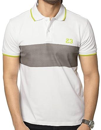 6c339ab1a059 ZEYO Men's Cotton Plain Blocked Half Sleeve Polo T-shirt (White-Black,