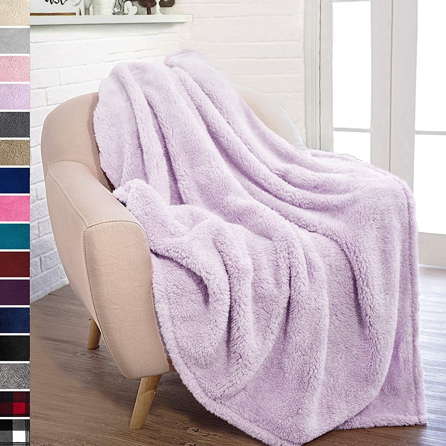 PAVILIA Plush Sherpa Throw Blanket for Couch Sofa | Fluffy Microfiber Fleece Throw | Soft, Fuzzy, Cozy, Shaggy, Lightweight | Solid Lavender Blanket | 50 x 60 Inches