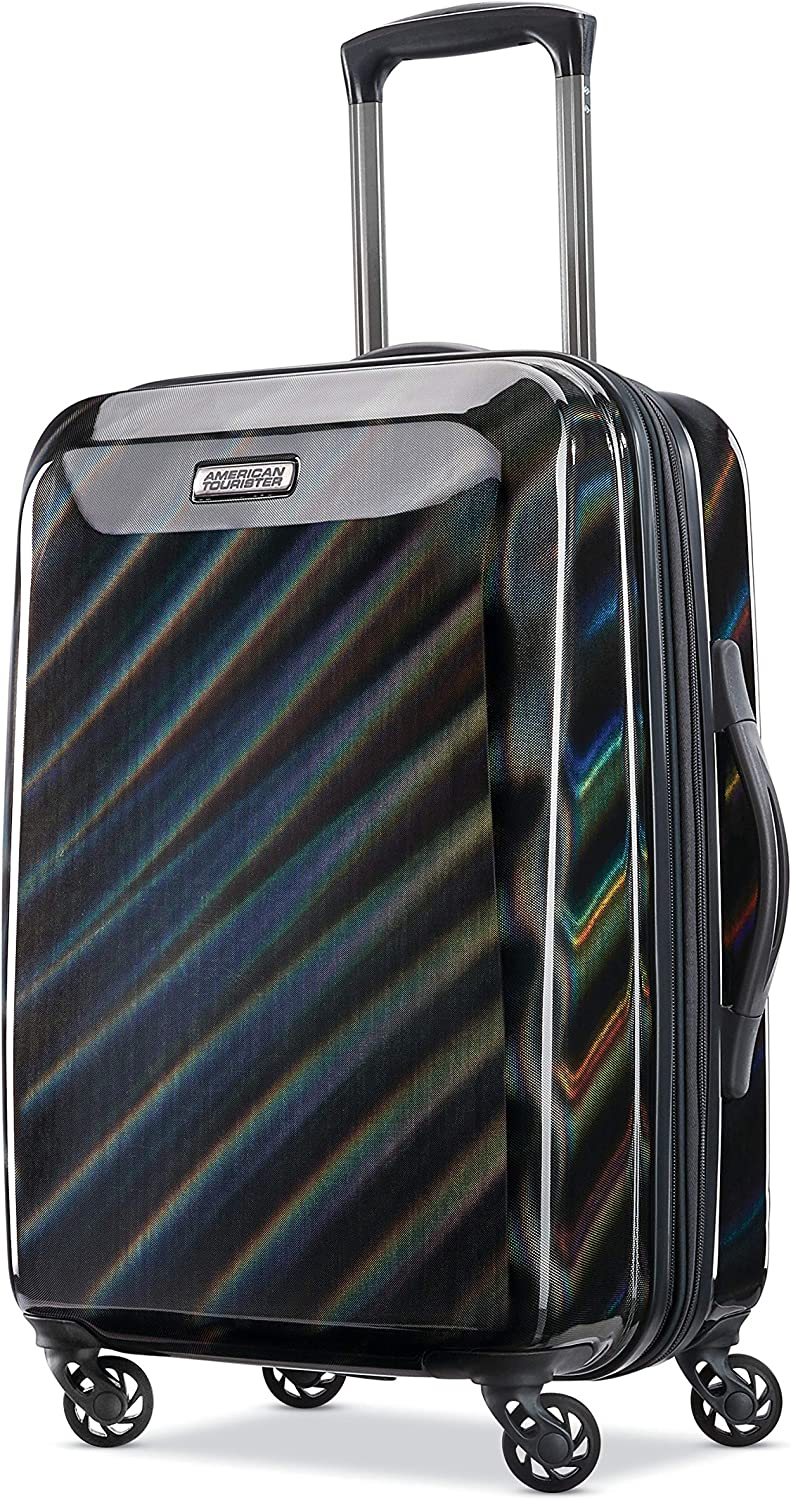 American Tourister Moonlight Hardside Expandable Luggage with Spinner Wheels, Iridescent Black, Carry-On 21-Inch