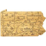 Totally Bamboo Destination Pennsylvania State Shaped Serving and Cutting Board, Includes Hang Tie for Wall Display