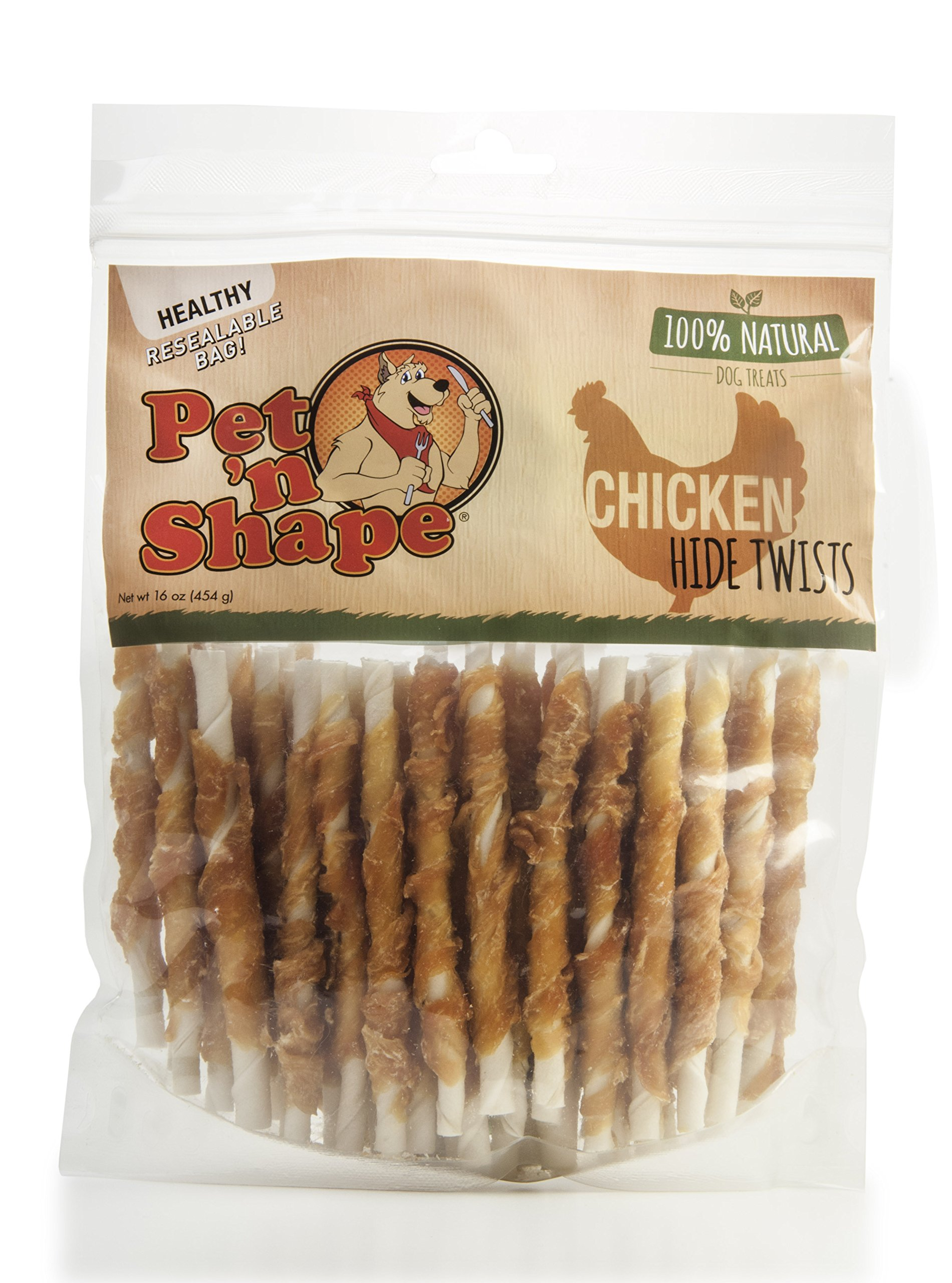 Pet 'n Shape Chicken or Duck wrapped rawhide twists - 100-Percent Natural Dogs