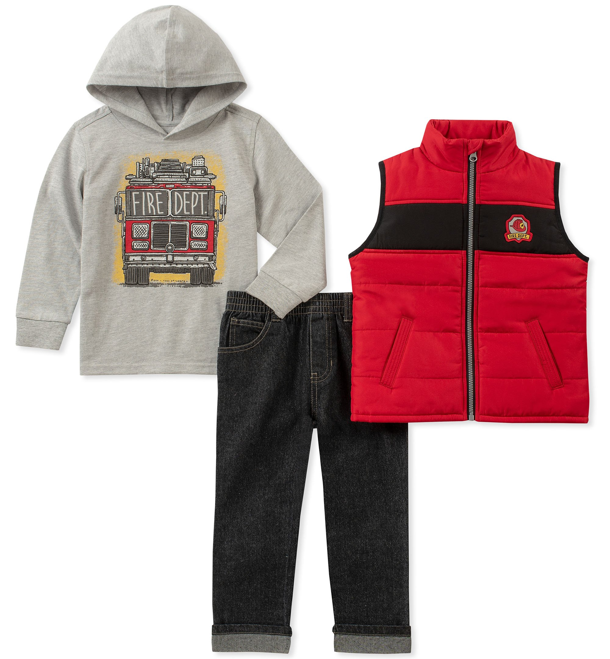 Kids Headquarters Boys' Toddler 3 Pieces Vest Set, red/Gray 2T