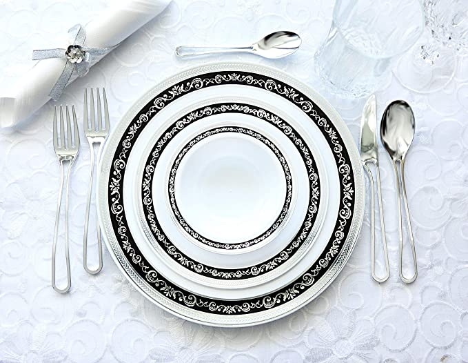 Decorline-Vajillas desechables Partido plato Platos de plástico blanco con borde negro/plata de plástico resistente vajillas desechables -Royal Collection ...