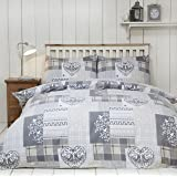 Alpine Patchwork 100% Brushed Cotton Flannelette Heart Quilt Duvet Cover and Pillowcase Bedding Bed Set, Natural/Multi-Colour, Single