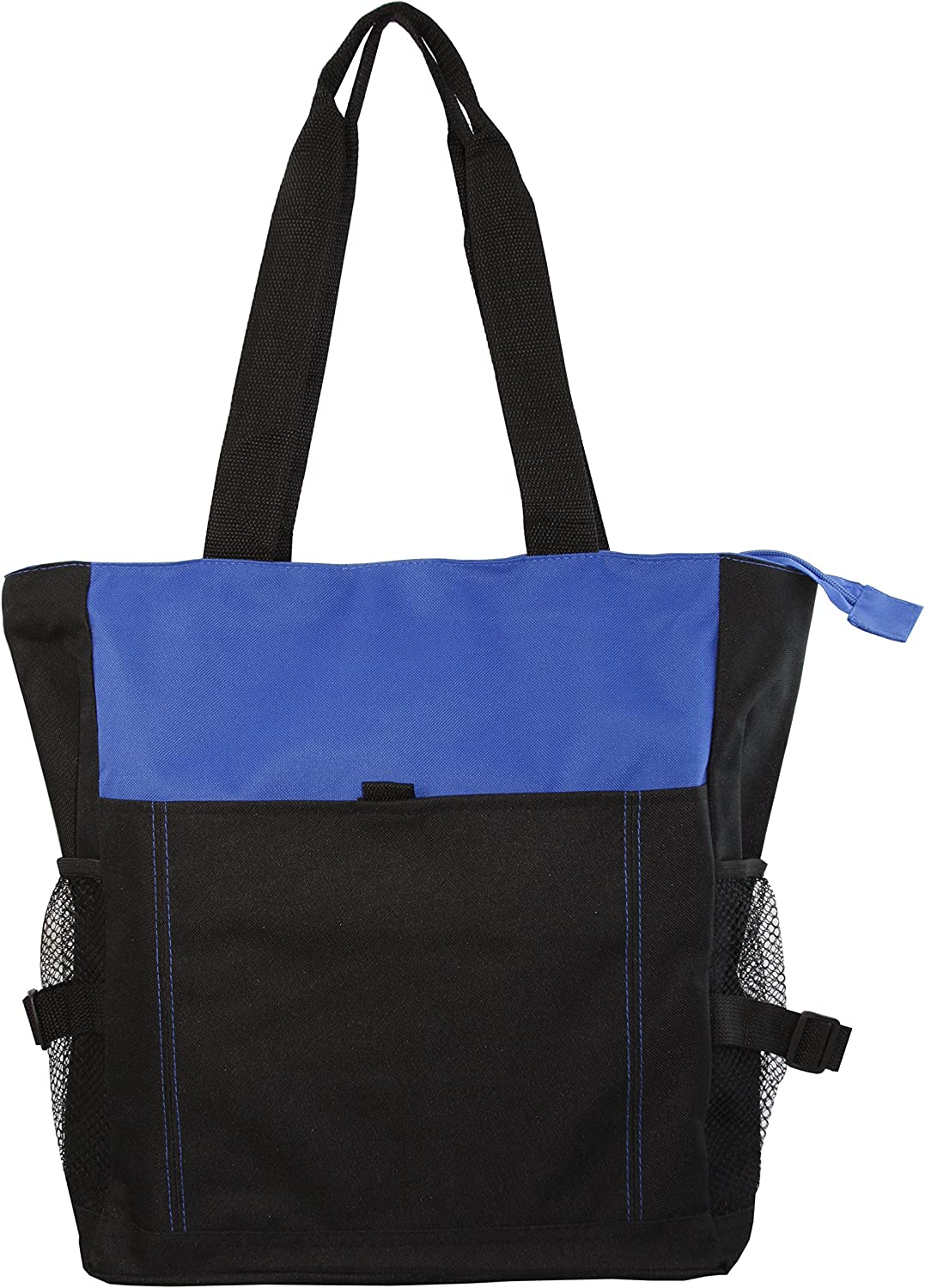 Deluxe Zippered Tote Bag with Mesh Side Pockets