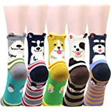 Cansok 5 Pack Women's Animal Socks Fun Novelty Dress Crew Socks