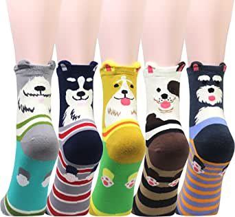 Cansok 5 Pack Women's Animal Socks Fun Novelty Dress Crew Socks