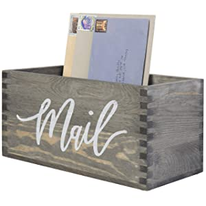 MyGift Rustic Gray Wood Tabletop Decorative Mail Holder Box