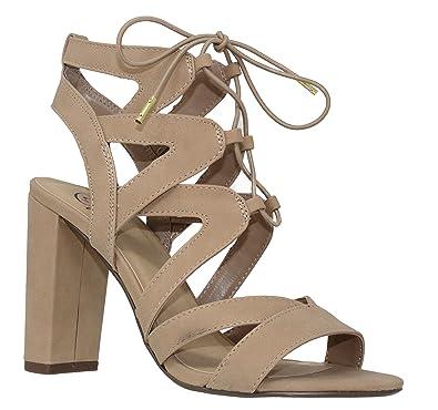 c5520731b9 MVE Shoes Women's Lace Up Cage Gladiator Block Heel Dress Sandal, Natural 6