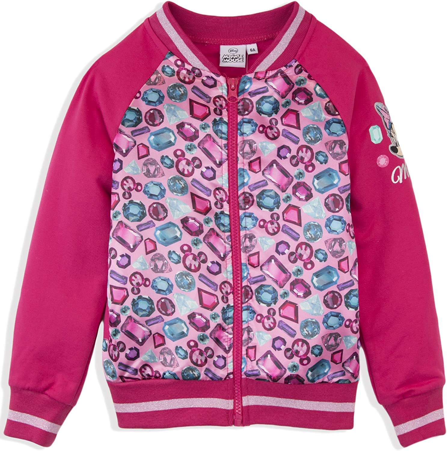 Disney Minnie Mouse Official Girls Baseball Bomber Jacket Diaments 2-8 Years