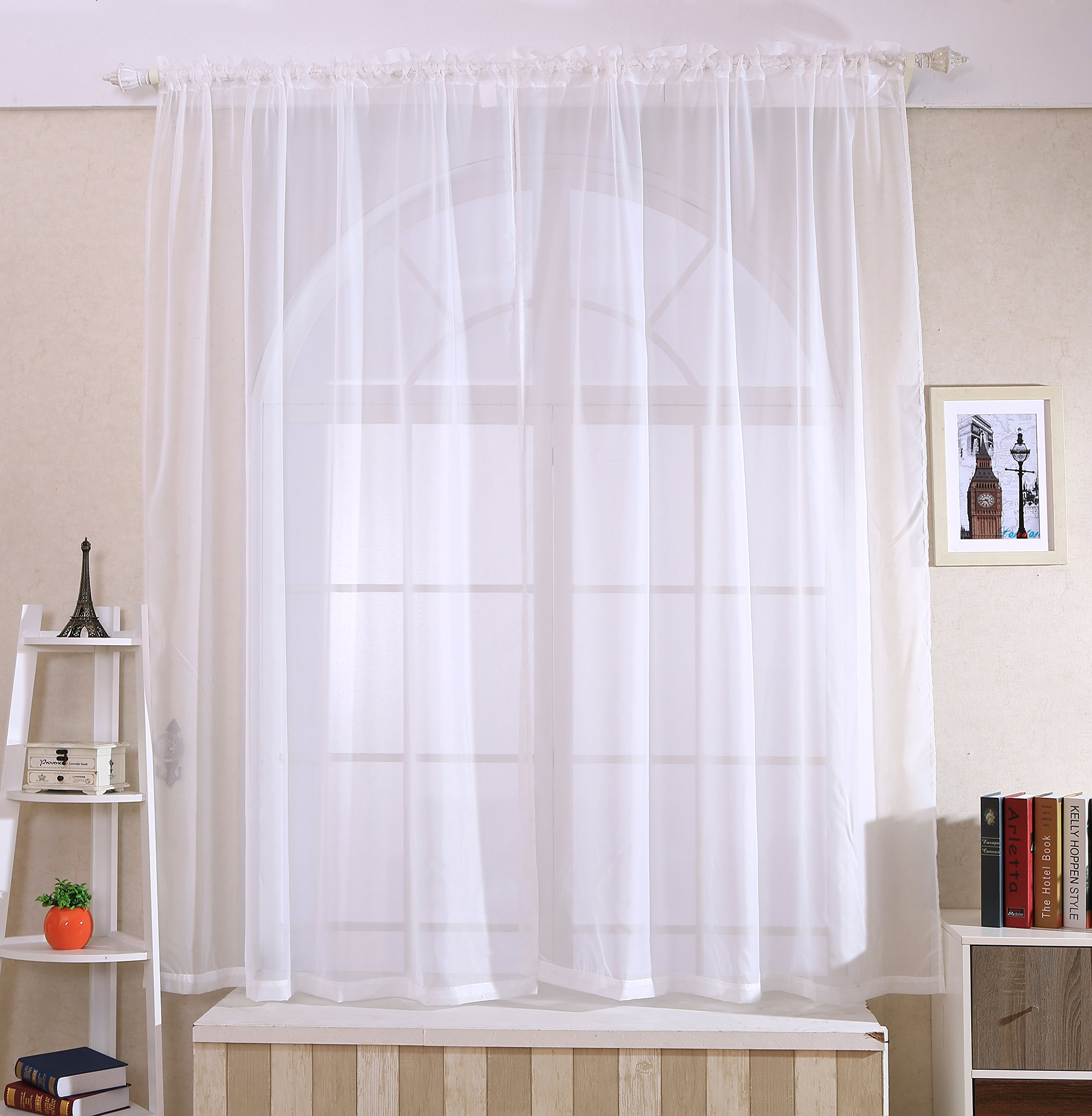 ANTSIR 2 Piece Solid Sheer Window Curtains Drape Panels Treatment Size 60
