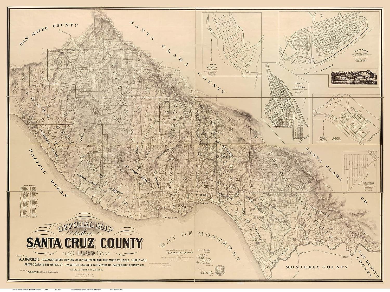 Amazon.com: Santa Cruz County California 1889 - Wall Map ... on san leandro on a map, san jose map, bumthang map, merizo map, port costa map, big sur map, san luis obispo map, half moon bay map, puente alto map, northern ca map, machico map, downieville map, san juan map, central ca map, barataria map, california map, san fransico state university on map, san francisco map, watsonville ca on map, rio blanco map,