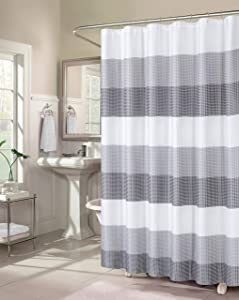 Dainty Home Waffle Weave Ombre Stripe Fabric Shower Curtains, 70 inches Wide x 72 inches Long, Grey Smoke