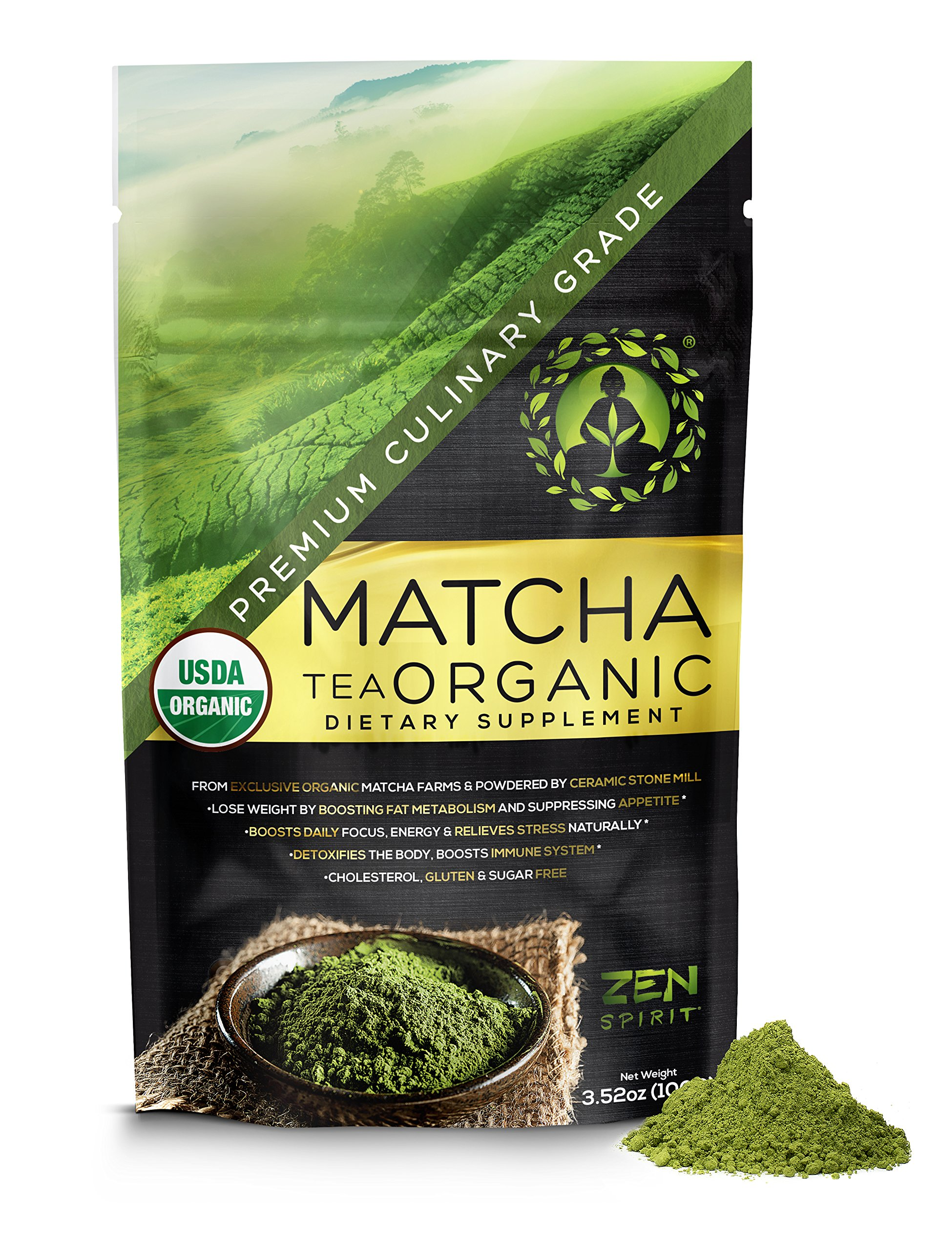 Matcha Green Tea Powder Organic - Japanese Premium Culinary Grade, Unsweetened & Sugar Free - USDA & Vegan Certified - 100g (3.52 oz) - Perfect for Baking, Smoothies, Latte, Iced tea & Weight Loss by Zen Spirit