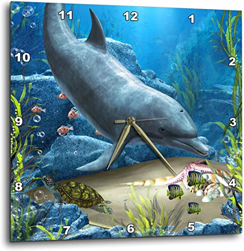 3dRose A Dolphin Swims in The Ocean with Turtle Fishes and More – Wall Clock, 13 by 13-Inch DPP_172930_2