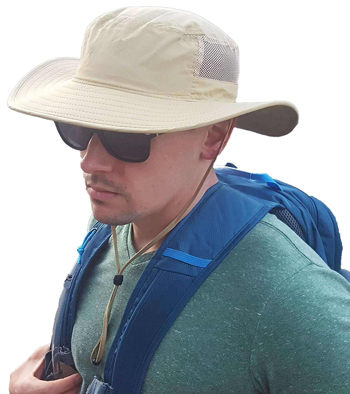 Sun Hat with Wide Brim、Chin Cord and 270 °メッシュ – 1サイズAdjustable Boonie Hat – 日光保護for Men and Women – 防水アウトドアバケット帽子釣り、キャンプ、ビーチ、サファリの 2 Pack カーキ B0753KN6TN