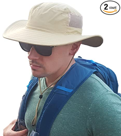 Outdoor Boonie Sun Hat 2-Pack - Sunlight Blocking Summer for Hat for Men 318a72d6381