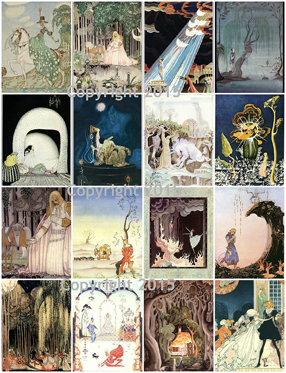 Kay Nielsen Vintage Illustrations # 102 Printed Collage Sheet 8.5 x 11 Paper Moon Media