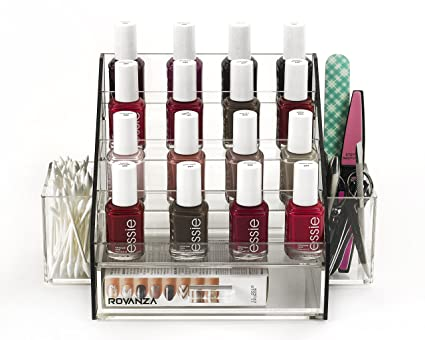 Rovanza Acrylic Nail Polish Organizer Perfect Diplay For Your Polishes Available In Many Colors Black