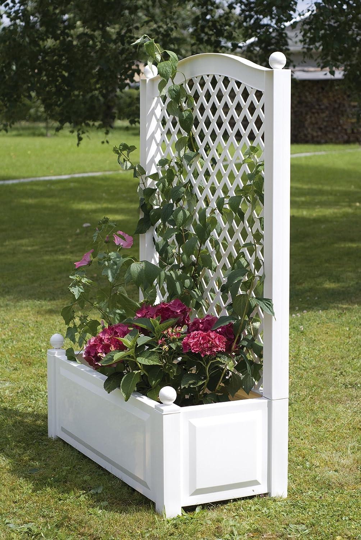 jardiniere avec treillis pvc blanc. Black Bedroom Furniture Sets. Home Design Ideas