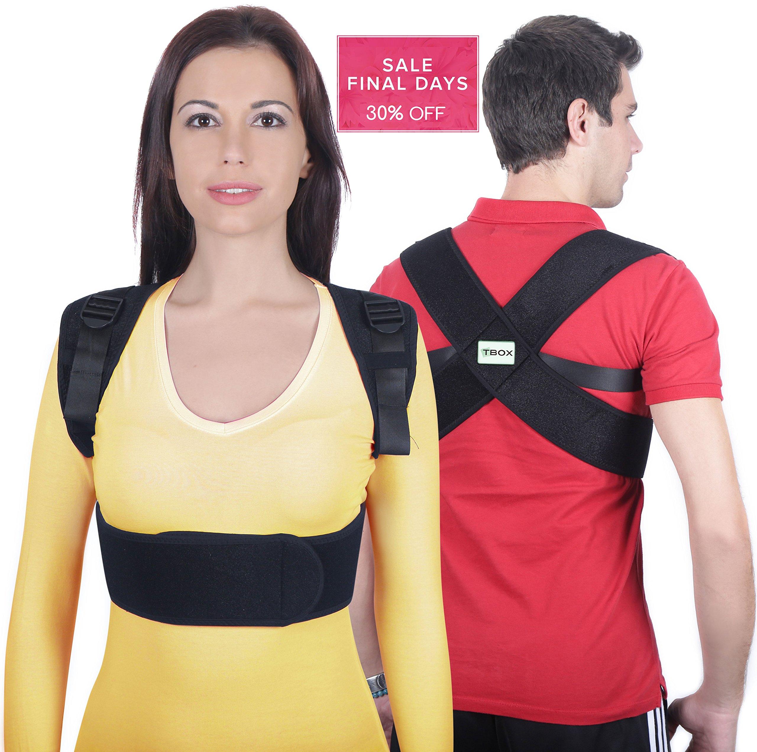 T-Box Posture Corrector for Women & Men - Medical Upper Back, Clavicle, Shoulder Support Brace - Figure 8 Design Improves Bad Posture, Hunchback, Thoracic Kyphosis, Forward Head, Back Pain Relief - R