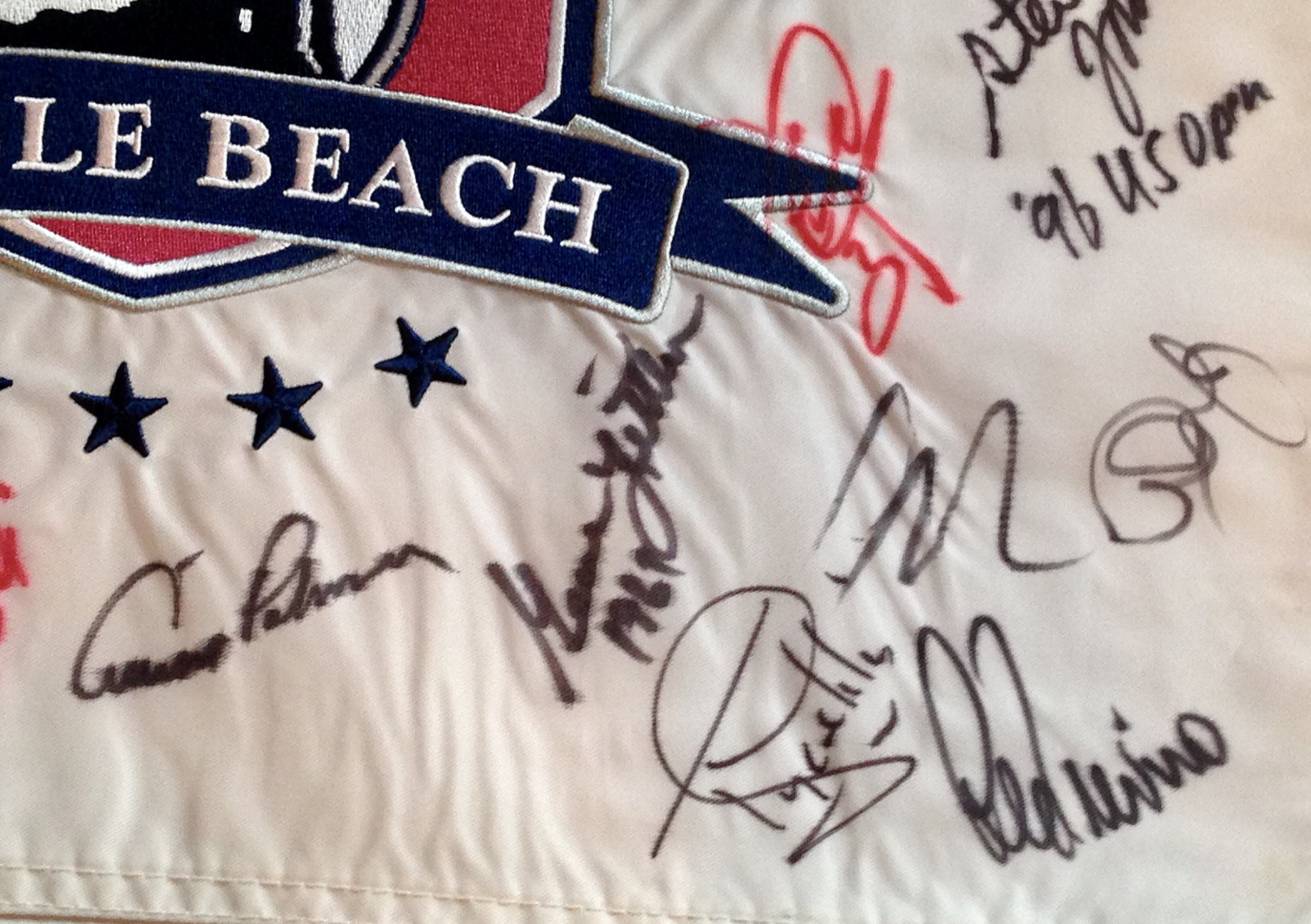 Pebble Beach U.S. Open golf signed flag 25 champions Jack Nicklaus Arnold Palmer Rory