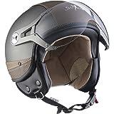 SOXON SP-325-URBAN Titan · Chopper Helmet Bobber Mofa Biker Cruiser Vintage Vespa-Helm Jet-Helm Scooter-Helm Motorrad-Helm Pilot Retro Roller-Helm ,ECE zertifiziert ,Leder Design ,inkl. Sonnenvisier ,inkl. Stofftragetasche ,Grau · M (57-58cm)