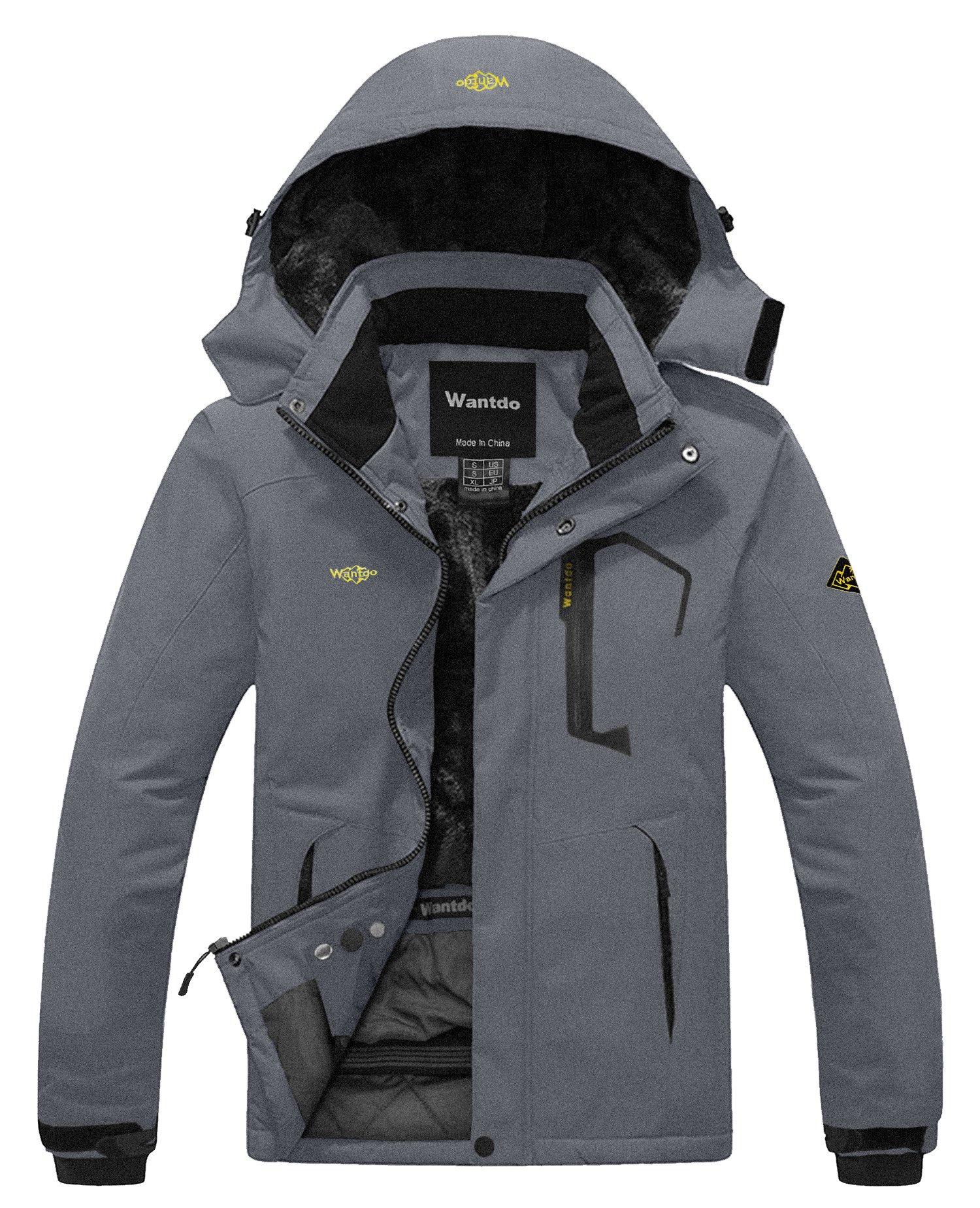 Wantdo Men's Waterproof Fleece Ski Jacket Windproof Rain Jacket Snowboarding Jacket Dark Grey S