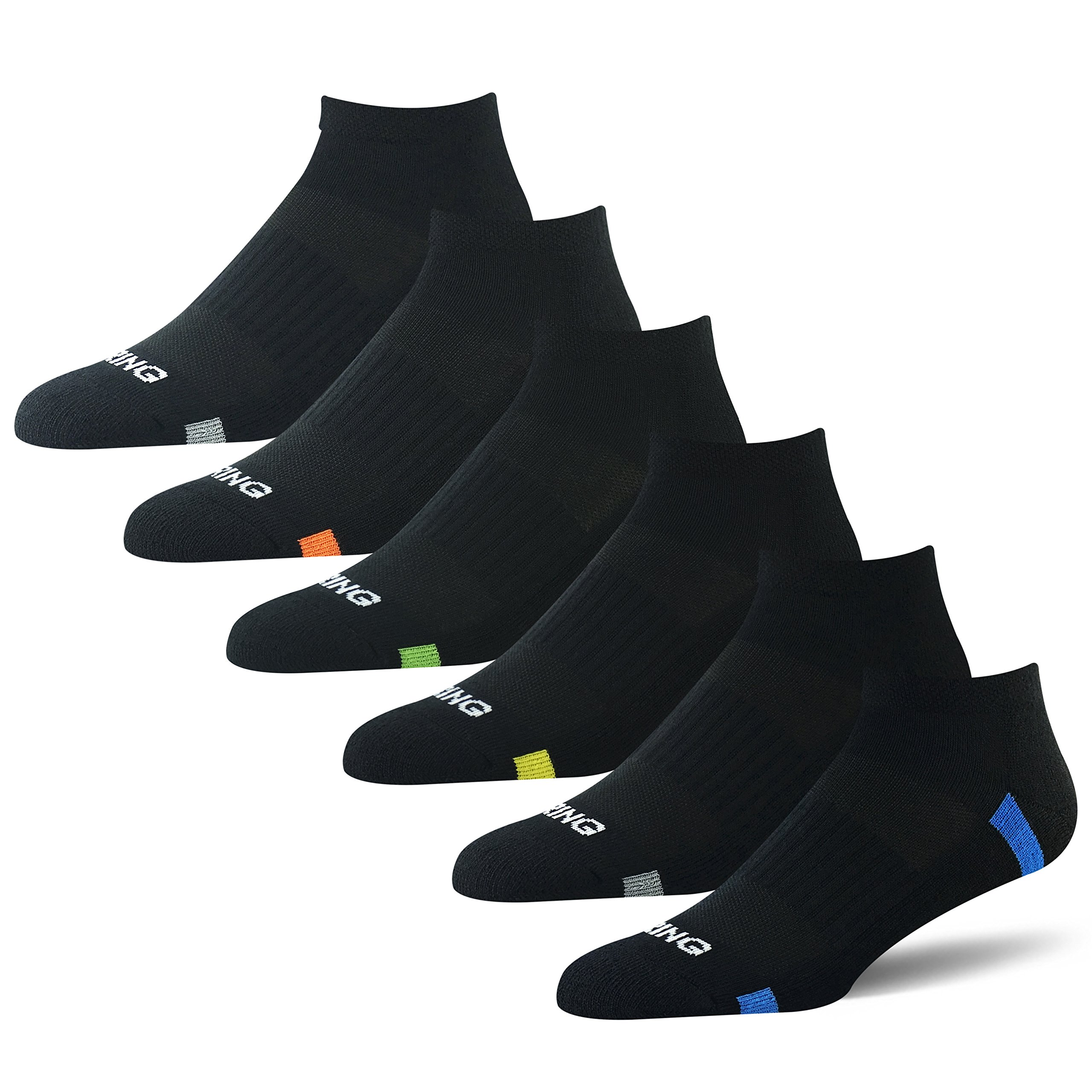 BERING Men's Ankle Athletic Socks for Running, Workout, and Casual (6 Pair Pack)
