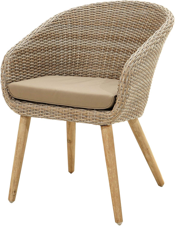 Ploß 4200055 Terassen-Stuhl Garten-Stuhl Polyrattan Alu Akazie B/T/H 62 x 64 x 85 cm