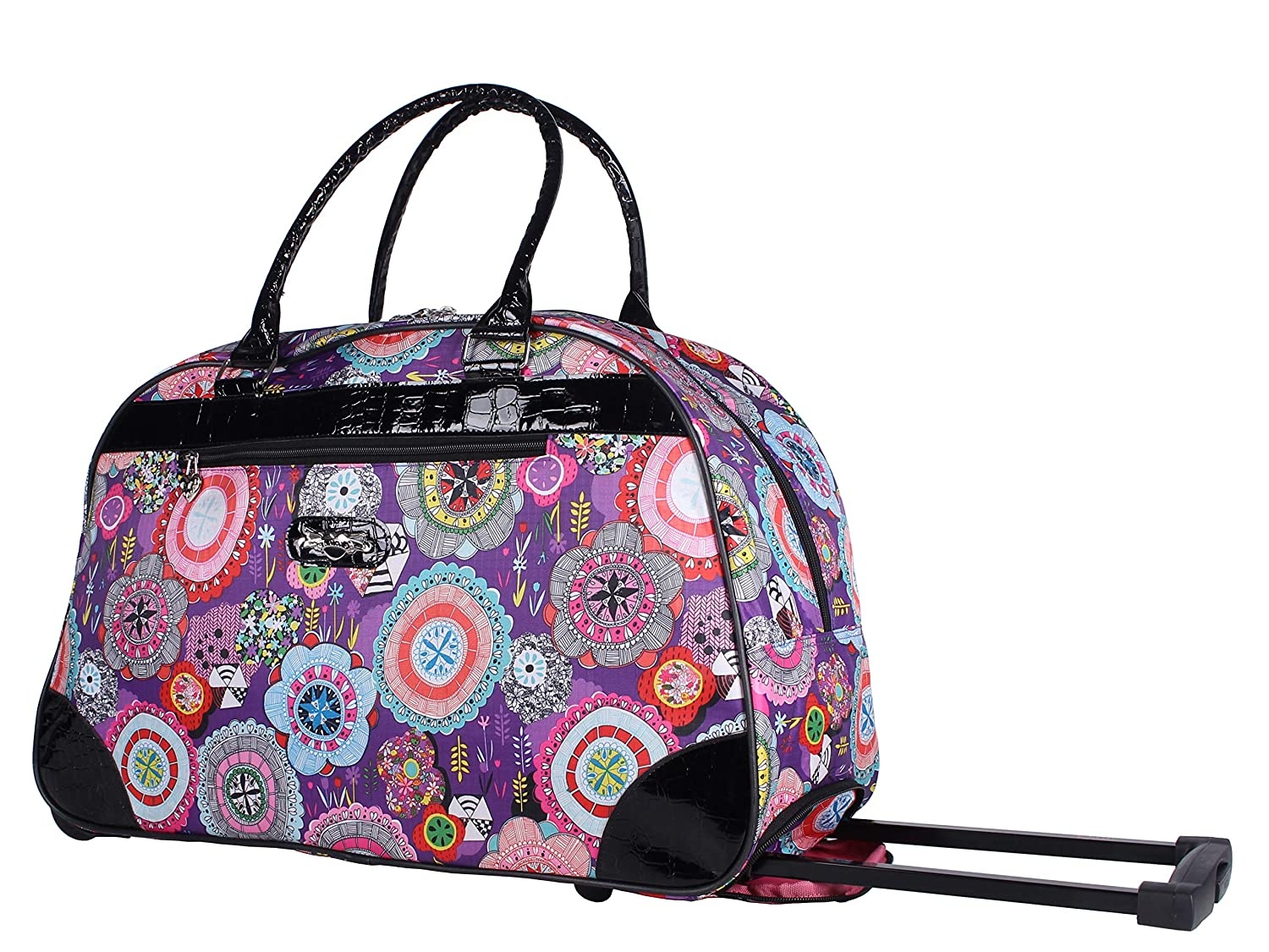 968355e2cf04 Kathy Van Zeeland Luggage 22 Inch Rolling Carry On Printed Wheeled Duffel  (Boquet purple, One_Size)