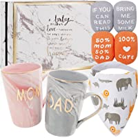 New Parents Pregnancy Gifts for First Time Moms and Dads Includes Premium Gift Basket with Mom and Dad Mugs 14 oz…