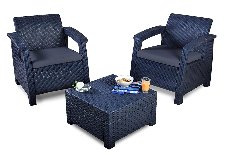 Keter Corfu Lounge und Balcony Set, graphit / grau, 75 x 70 x 79 cm, 17194274