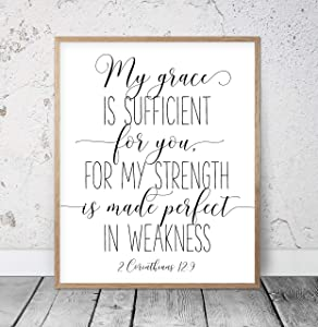 My Grace is Sufficient for You 2 Corinthians 12:9 Printable Bible Verses Christian Gifts Scripture Wall Art Giles Nursery Decor Kids Wood Pallet Design Wall Art Sign Plaque with Frame wooden sign