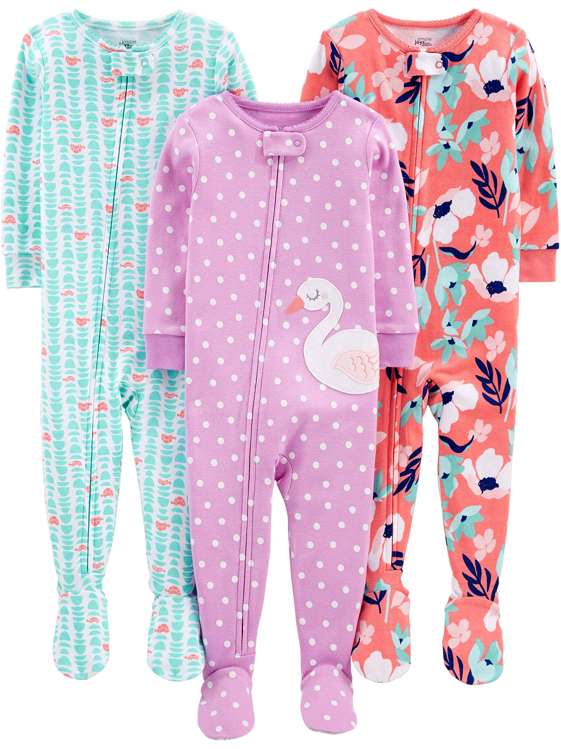 c4bdc582ef Simple Joys by Carter s Baby and Toddler Girls  3-Pack Snug Fit Footed  Cotton