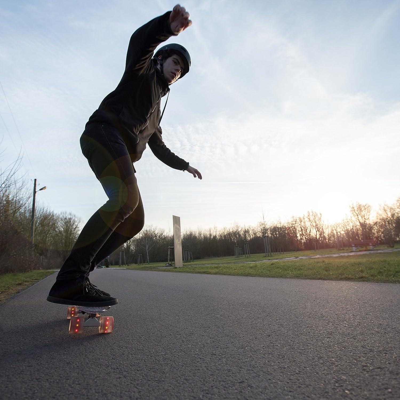 relaxdays Skateboard Transparent mit LED 22 Zoll Komplettboard Alu-Trucks mit Leuchtrollen