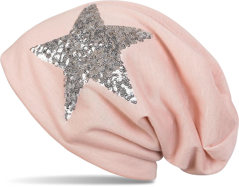 styleBREAKER Beanie Mütze mit Pailletten Stern, Slouch Longbeanie, leicht, Damen 04024067