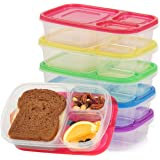 Qualitas Products Premium Kids Bento Boxes – 3 Compartments, 5 Bento Box Microwave Safe Lunch & Leftover Containers Set for Kids and Adults - Made From US FDA Approved Food Grade Plastic