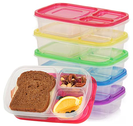 7a9badd2ce1b Qualitas Products Premium Kids Bento Boxes - 3 Compartments, 5 Bento Box  Microwave Safe Lunch & Leftover Containers Set for Kids and Adults - Made  ...