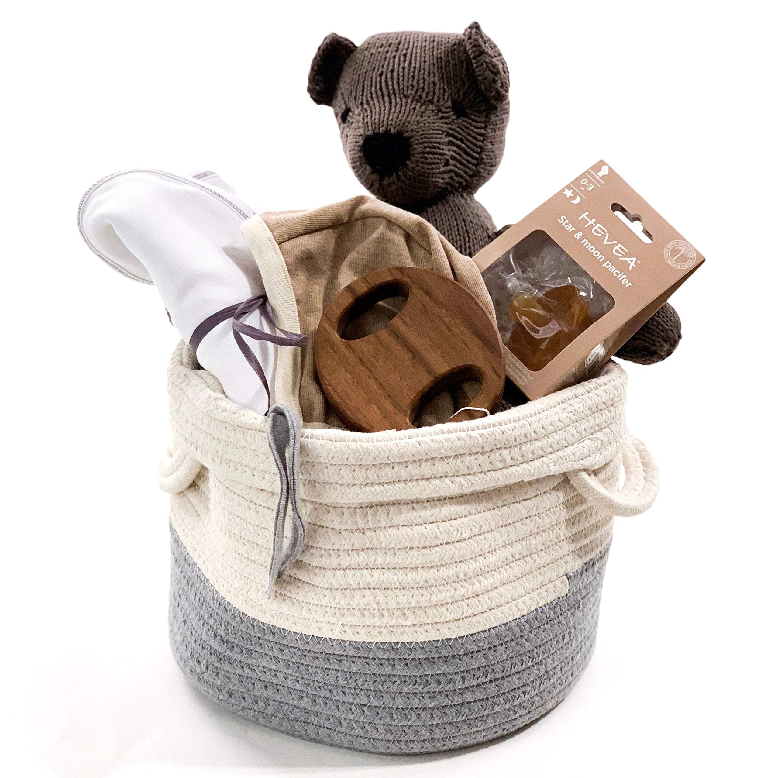 Organic Baby Gift Basket - Tan & Gray Baby Shower - Unisex, Gender Neutral