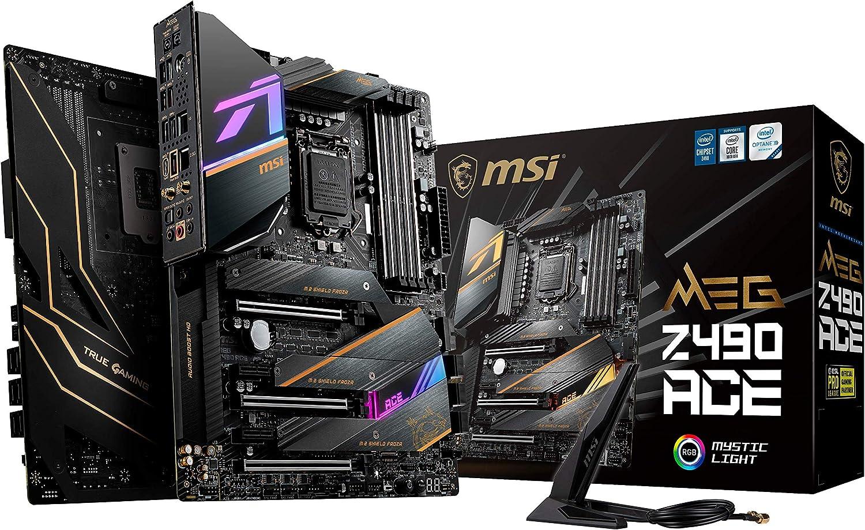 MSI - MEG Z490 Ace - Placa Base Enthusiast Gaming (10th Gen Intel Core, LGA 1200 Socket, SLI/CF, Triple Ranura M.2, USB 3.2 Gen 2x2, Wi-Fi 6, Mystic Light RGB)