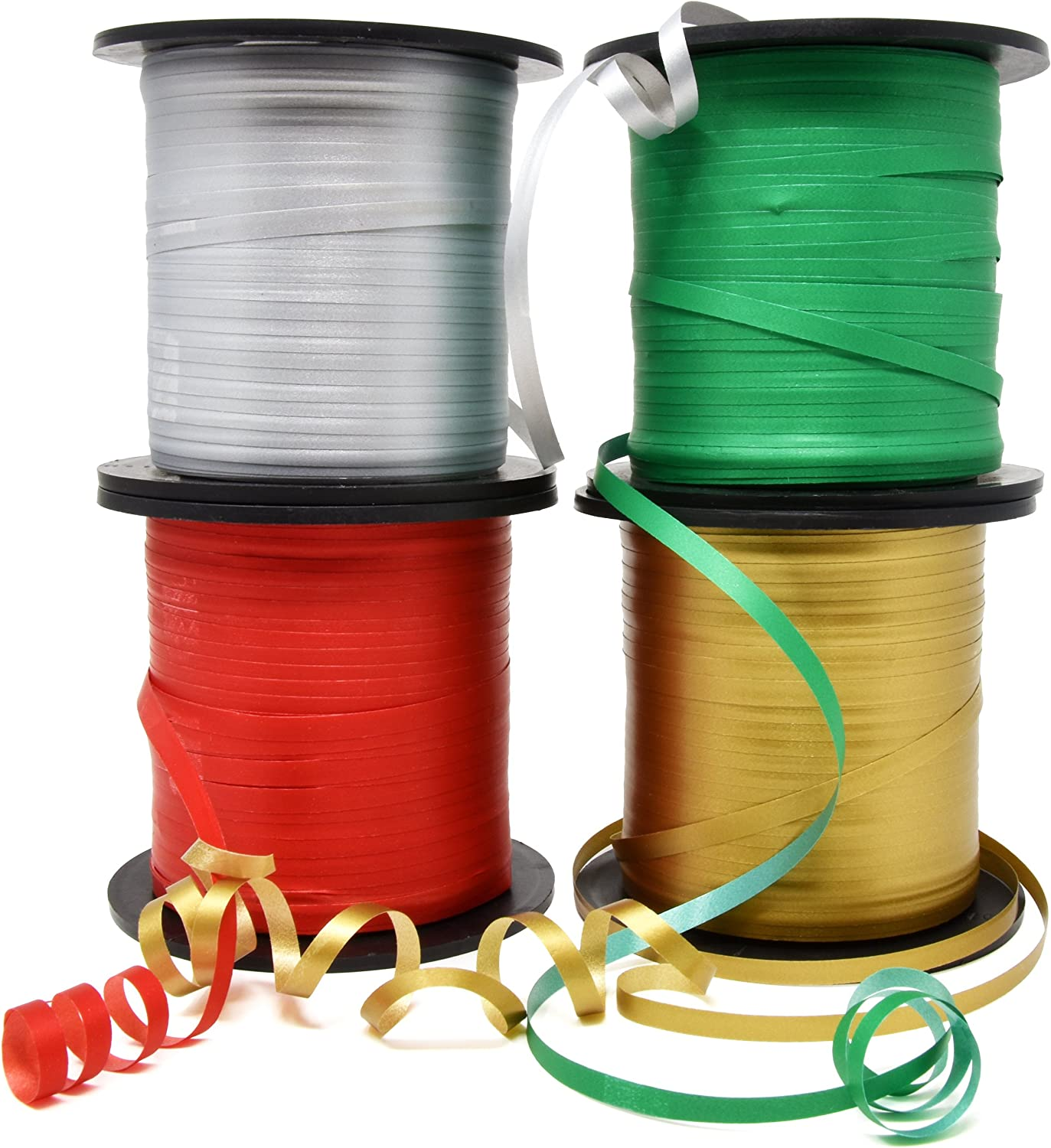 Christmas Curling Ribbon Pack of 4 Rolls Green, Red Gold & Silver; Holiday Party Crafts Supplies Decorations- 350 Yards per Roll – Total of 4200 Feet 5 mm Ribbon; by Gift Boutique