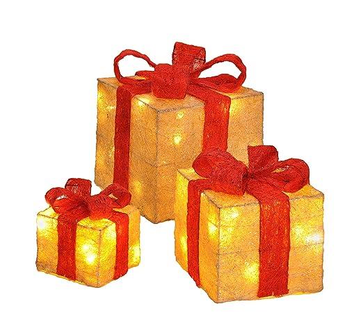 Juego de 3 cajas de regalo decorativas con luz LED, con